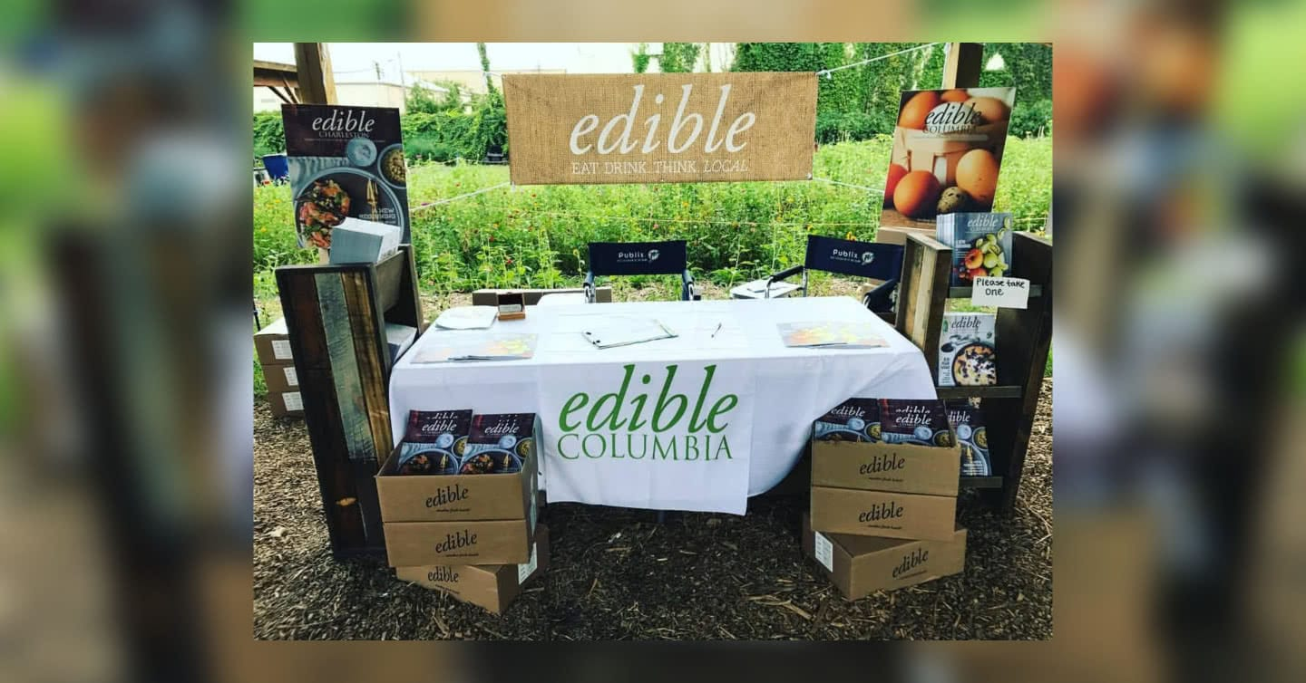 edible columbia table at farmers market