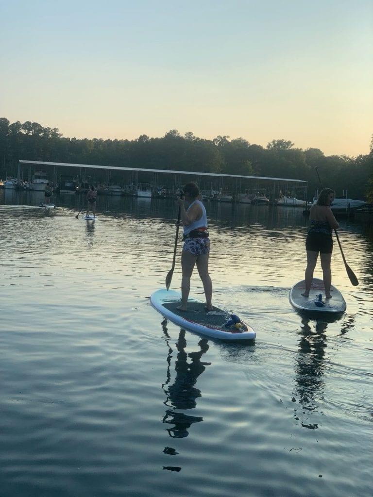 paddling on lake murray for yoga